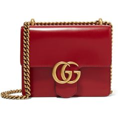 GucciGg Marmont Mini Leather Shoulder Bag ($1,750) ❤ liked on Polyvore featuring bags, handbags, shoulder bags, gucci, handbag's, claret, red leather purse, handbags shoulder bags, leather purses and gucci purses