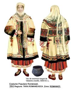Cojocul şi ceramica de Vădastra Romania People, Popular Costumes, Moldova, Folk Costume, Knitting Patterns, Kimono Top, Textiles, Traditional, Blouse