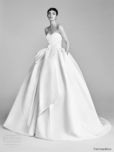 viktor and rolf spring 2018 bridal strapless sweetheart bow waist ball gown wedding dress (9) mv pocket train romantic modern -- #wedding #bridal #romantic #ballgown