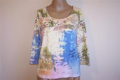 CHICOS Sz 1 Shirt Top Spandex Stretch Postcard Tropical Boats 3/4 Sleeve S 8/10 #Chicos #KnitTop #Casual