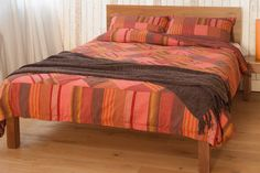 Red Madras Check | Patchwork Duvet Cover | Natural Bed