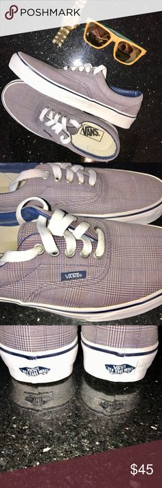 NWOT! Vans Unisex Brown/Blue Plaid Low Tops LACE UP with these NWOT Vans Unisex Brown/Blue Small Plaid Low Tops. Interchangeable white laces. White soles with navy blue stripe going around. Men's size 6.5, Women's size 8. Classic lace up low top Vans with a twist in design! Vans Shoes Sneakers