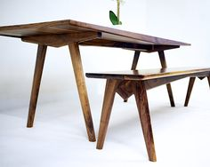 """The """"Pittsburgh Limited"""": Mid Century Modern Walnut Dining Table, Modern Walnut Dining Table, Kitchen Table,Dining Table."""