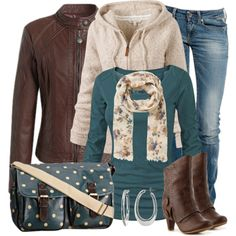 Fall Outfit blue jeans, blue shirt, cream hoodie, brown jacket and boots, printed accessories