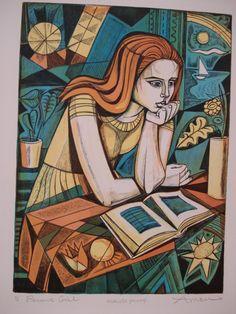 "girl reading- ""Pensive girl"", lithograph by Irving Amen (American, Action Painting, Linocut Prints, Art Prints, Block Prints, Arts Ed, Elementary Art, American Artists, Online Art, Art Lessons"