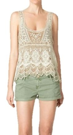 Vintage Style Off White U-Neck Crochet Lace Sleeveless Tunic Top Size S-M  - $35.00