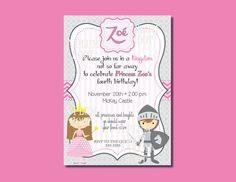 Princess/Knight Birthday Party Invitation DIY by APlumHoot on Etsy
