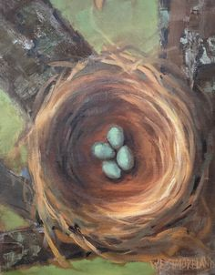 New Beginnings- Susan Westmoreland. 14 x 11 inches. Oil on linen panel #nesting #impressionism #nest