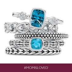 Three trendy stack rings for the price of two, now through Mother's Day, only from Helzberg Diamonds!