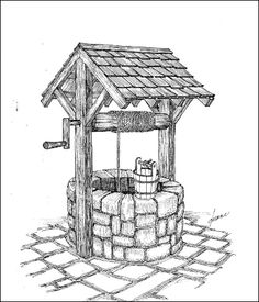 "Vintage hand-dug water well with hand crank and water bucket. ""Wishing Well"". Vintage hand-dug water well with hand crank and water bucket. ""Wishing Well"". Landscape Pencil Drawings, Pencil Art Drawings, Art Drawings Sketches, Easy Drawings, Landscape Sketch, Arte Sketchbook, Water Well, Wishing Well, Painting & Drawing"