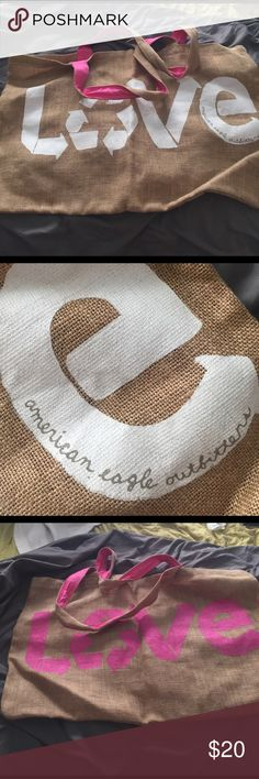 Canvas AE tote Adorable burlap Esque tote from AE always get compliments when using it for sustainable shopping!! American Eagle Outfitters Bags Totes