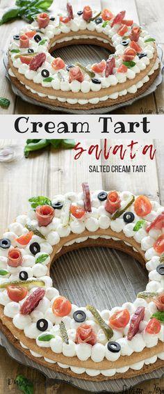 Cream tart salata, un perfetto antipasto semplice, sfizioso e originale per buffet o feste di compleanno ! Salted cream tart with cream cheese and salami #creamtart #antipasto #buffet #festadicompleanno #millefogliesalata #tortasalata
