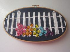 Picket Fence and Flowers Oval Embroidery Hoop by askewstitch, $20.49