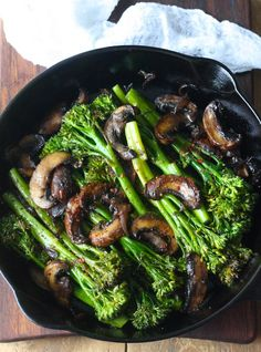 Roasted Broccolini with Mushrooms in Balsamic Sauce recipe by seasonwithspice #Broccolini #Mushrooms #Healthy