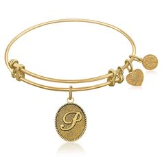 Expandable Bangle in Yellow Tone Brass with Initial P Symbol