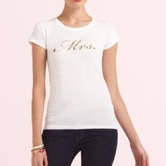 Kate Spade 'Mrs.' Bride Bridal Tee Shirt Tried on and washed. Never wore outside. A foil graphic proclaims the bride's new status on the front of a soft cotton tee. Cotton; hand wash or dry clean. By kate spade new york; made in the USA. Special Occasion. kate spade Tops Tees - Short Sleeve