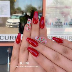 23 Ways to Wear Cherry Nails This – Sharing beauty Red Acrylic Nails, Summer Acrylic Nails, Acrylic Nail Designs For Summer, Pink Summer Nails, Red Nail Designs, Pastel Nails, Aycrlic Nails, Swag Nails, Coffin Nails