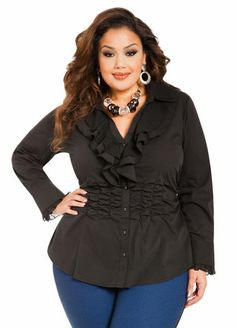 Ruched Ruffle Front Shirt