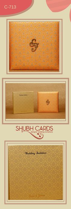 A #Grand #WeddingCard in silk fabric from #ShubhCards. The fabric of the #Invitation is in dazzling orange and is printed with floral patterns in gold arranged in checkered pattern.  The centre of the #Card has the initials of the bride and the groom in MDF. The box like cover of the #weddinginvite in full gold and floral patterns arranged in the same checkered pattern exudes luxury.  #GrandWeddingCard #Grand #DesignerInvites #DesignerCards #DesignerInvites