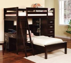 460123 Wooden Twin loft bunk bed with desk drawer storage in Cappuccino | New $ Sale $ Friends Discounted Price $