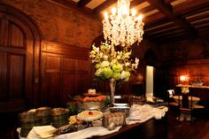 Wedding Buffet. Dining room of Annesdale Mansion wedding venue. Memphis, TN