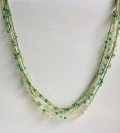 Green shades chain beaded crochet necklace by GabyCrochetCrafts