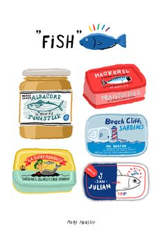 fish tins illustration by moreparsley Up Book, Good Notes, Food Drawing, Posca, Red Aesthetic, Food Illustrations, Cute Illustration, Cute Stickers, Doodle Art