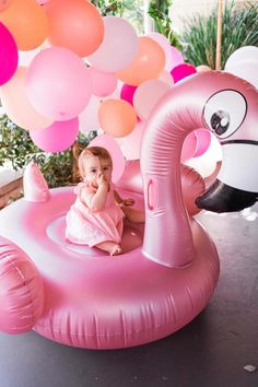 "Flamingo Floatie from a ""Let's Flamingle"" Tropical Flamingo Birthday Party on Kara's Party Ideas 