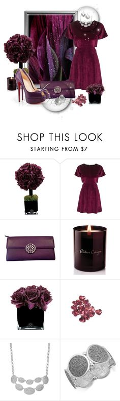 """""""Plum and Purple"""" by leanne-mcclean ❤ liked on Polyvore featuring Hervé Gambs, Topshop, Coach, Atelier Cologne, Christian Louboutin, Graham & Brown and Style & Co."""