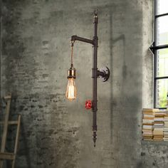 Industrial Style Pipe 1-Light Hanging Exposed Bulb Wall Light Rust Bar Loft Lamp