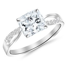 IGI Certified 0.60 Carat Princess Cut/Shape 14K White Gold Elegant Twisting Split Shank Diamond Engagement Ring with a 0.50 cwt, D-E Color, VVS2-VS1 Clarity Center Stone >>> Check out the image by visiting the link.