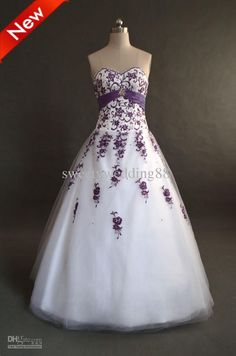 Wholesale A-line Sweetheart Purple Embroidery Beads Taffeta Sash Ball Gown Lace-up Tulle Prom/Wedding Dresses, $128.8-138.88/Piece | DHgate
