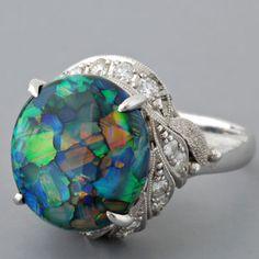 Vintage Platinum Black Opal and Diamond Ring