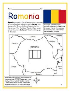 ROMANIA - Printable handout with map and flag by Interactive Printables Printable Worksheets, Printables, Basic Geography, Geography Worksheets, Sibiu Romania, Small Flags, Sweden Travel, 1 Decembrie, Interactive Notebooks
