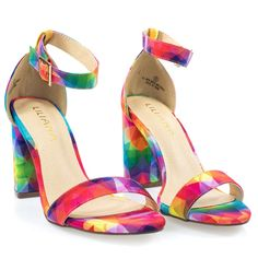 By Liliana, Open Toe Chunk Block Heel Sandal w Ankle Strap In Denim & Rainbow Multi Rainbow Wedding Shoes, Rainbow Heels, Ankle Strap Heels, Ankle Straps, Heels Outfits, Buy Shoes Online, Colorful Shoes, Open Toe Shoes, New Shoes