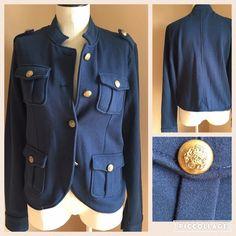 Navy Blue Button Detailed Jacket Navy Blue Button Detailed Jacket Soft Material Size Large Jackets & Coats