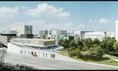 Centre sportif Poissonniers - Vue depuis les voies ferrées