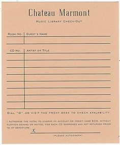 Chateau Marmont music library check-out card