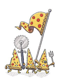 Food Fight - Pizza by Charlie Bink / Question, if a piece of pizza is their flag, are they using a dead body as their flag? Pizza Tattoo, Pizza Kunst, Casa Pizza, Pizza Mania, Pizza Quotes, Pizza Branding, Pizza Life, Piece Of Pizza, Pizza Art