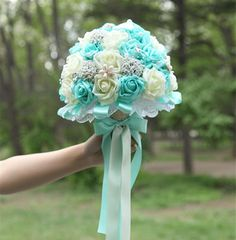 blue wedding bouquet Picture - More Detailed Picture about new tiffany blue wedding bouquets pe rose tiffany blue and white bridal bouquet beaded brooch pearl and bowknot diameter Picture in Artificial & Dried Flowers from nancy wedding custom Tiffany Blue Weddings, Tiffany Wedding, Tiffany Blue Flowers, Blue Wedding Decorations, Wedding Colors, Turquoise Wedding Bouquets, Dream Wedding, Wedding Day, Diy Wedding