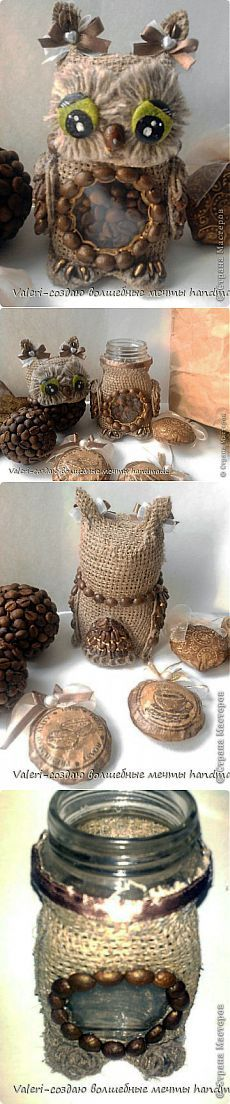 Burlap, Twine and Pine Cone Owls Hobbies And Crafts, Diy And Crafts, Crafts For Kids, Arts And Crafts, Jute, Mason Jar Crafts, Bottle Crafts, Burlap Projects, Jar Art