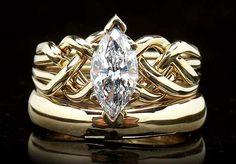Unique Engagement Rings   Marquise Diamond Puzzle Ring Bridal Set with 1CT Diamond: Marquise Diamond Ring