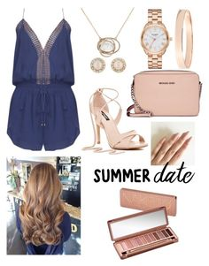 """""""rose gold and navy summer date"""" by c0c0nutz ❤ liked on Polyvore featuring Michael Kors, Kate Spade, Karen Millen, Lana Jewelry, Urban Decay, Pink, navy, rosegold, summerdate and rooftopbar"""