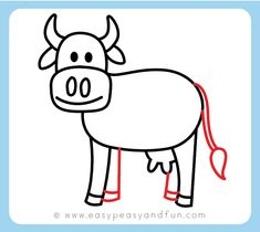 How to Draw a Cow - Step by Step Cow Drawing Instructions (Kids and Beginners) - Easy Peasy and Fun Cow Drawing Easy, Boy Drawing, Easy Drawings For Kids, Drawing For Kids, Drawing Eyes, Love Sketch Images, Girl Drawing Images, Cartoon Drawings, Cute Drawings