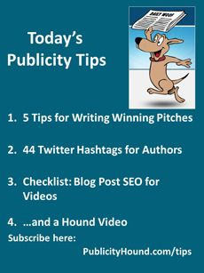 "Publicity Tips–5 Tips for Writing Winning Pitches. In the May 20 issue, before you pitch an idea to a journalist, ask, ""What's in it for them?"" Read #pitchingtips in the article ""AP Stylebook's 5 tips to write winning pitches."" Check out Caitlin Muir's entire list of ""44 Essential #TwitterHashtags Every Author Should Know."" Also, access your free Blog Post SEO for Videos. #publicitytips #APStylebook #YouTubeTips"