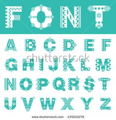 Font with ornament. Typeface of latin letters
