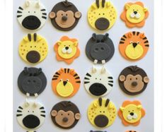 Set of 12 or 24 Animal cupcake toppers Zoo Animal Cakes, Animal Cupcakes, Easter Cupcakes, Themed Cupcakes, Fun Cupcakes, Cupcake Decorating Party, Christmas Cupcakes Decoration, Cupcake Toppers, Cupcake Cakes