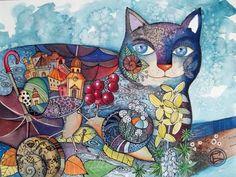 Escargot chat - Peinture,  30x40 cm ©2012 par Oxana Zaika -                              Classicisme, chat