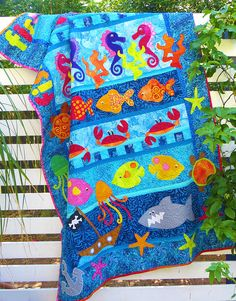 Fishy Fishy Fishy - PDF Quilt Pattern at Makerist Pirate Nursery Themes, Farm Quilt Patterns, Pdf Patterns, Beach Quilt, Ocean Quilt, Fish Quilt, Toddler Quilt, Baby Boy Quilts, Applique Quilts