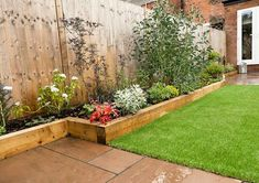 The raised sleeper beds work perfectly in this low maintenance garden. The raised sleeper beds work perfectly in this low maintenance garden. Back Garden Design, Backyard Garden Design, Diy Garden, Small Backyard Landscaping, Garden Beds, Garden Projects, Backyard Ideas, Backyard Pools, Landscaping Ideas